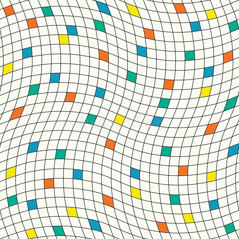Böljd rasterstruktur med fyrkanter stock illustrationer