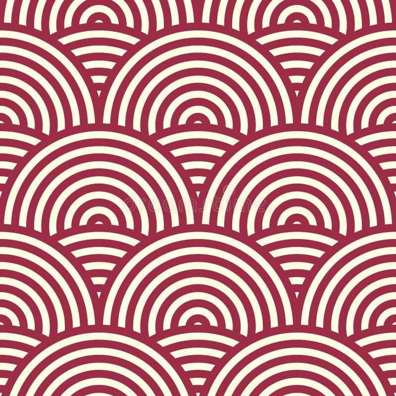 Böljer den ändlösa modellen för den röda vektorn som skapas med tunt, band stock illustrationer