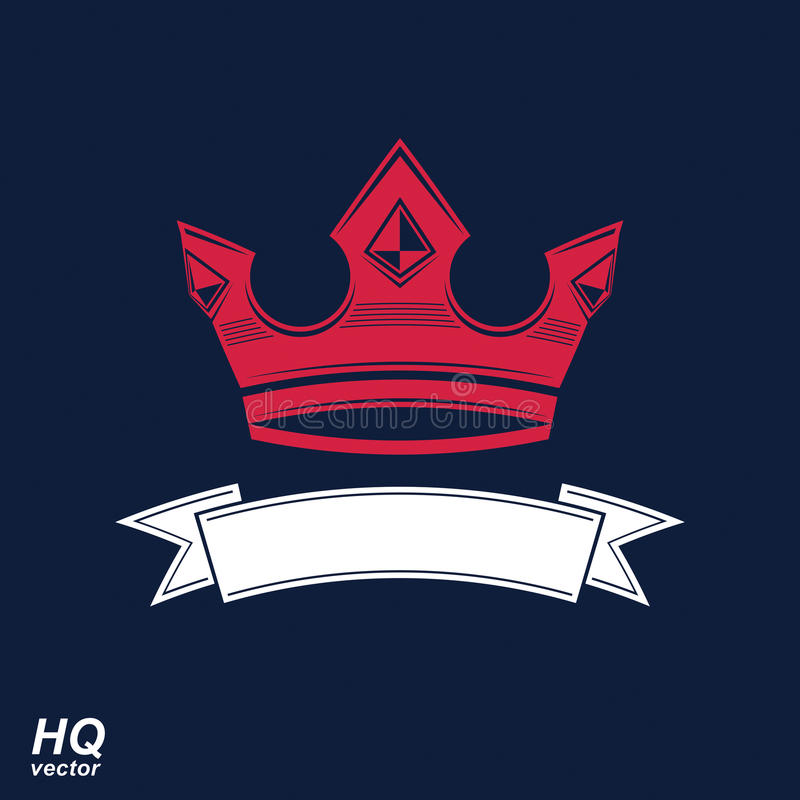 Böljer den imperialistiska kronan för vektorn med bandet Klassisk krona med royaltyfri illustrationer
