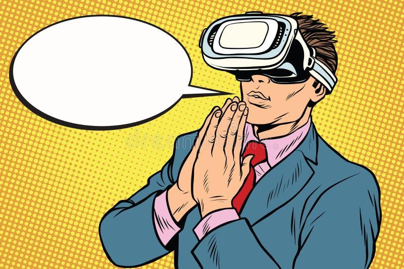 Bön av den VR-verklighet, religionen och teknologi vektor illustrationer