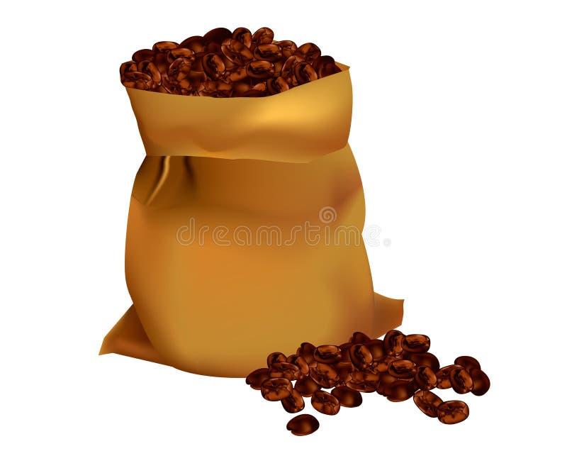 bönakaffesäck royaltyfri illustrationer