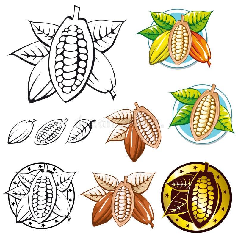 bönakakaosymboler vektor illustrationer