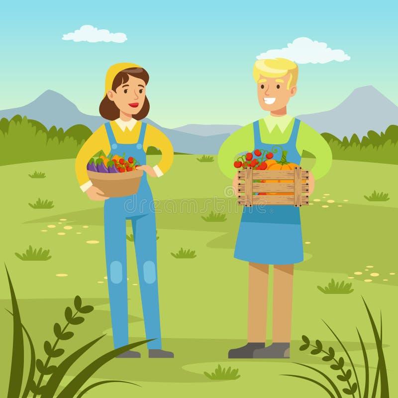 Bönder man och hållande korgar för kvinna med den nya sunda skörden av grönsaker royaltyfri illustrationer
