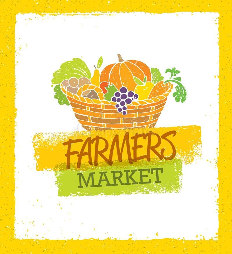 Bönder marknadsför idérikt organiskt lokalt matvektorbegrepp Ny organisk broccoli, tomater, Paprikas, haricot vert, champinjoner, royaltyfri illustrationer