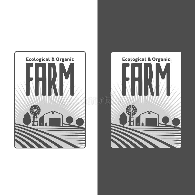 Bönder med fältemblem royaltyfri illustrationer