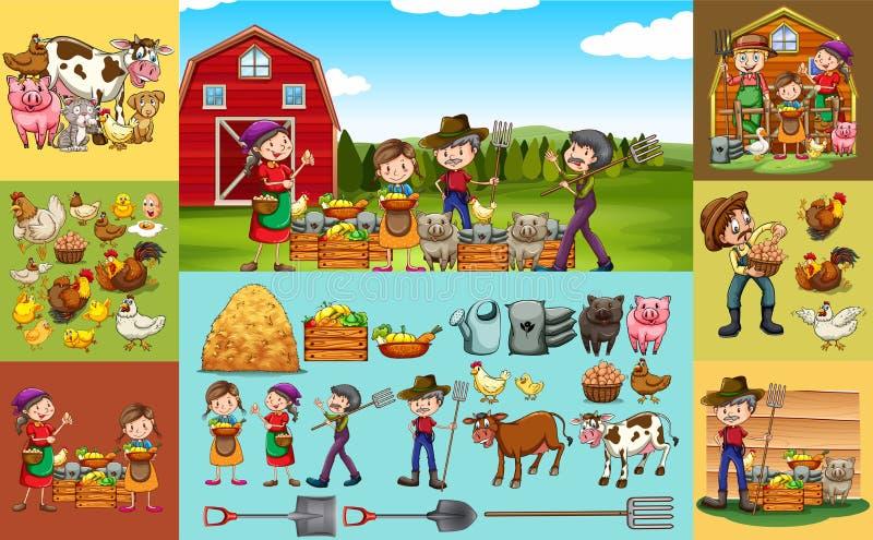Bönder och djur på lantgården stock illustrationer