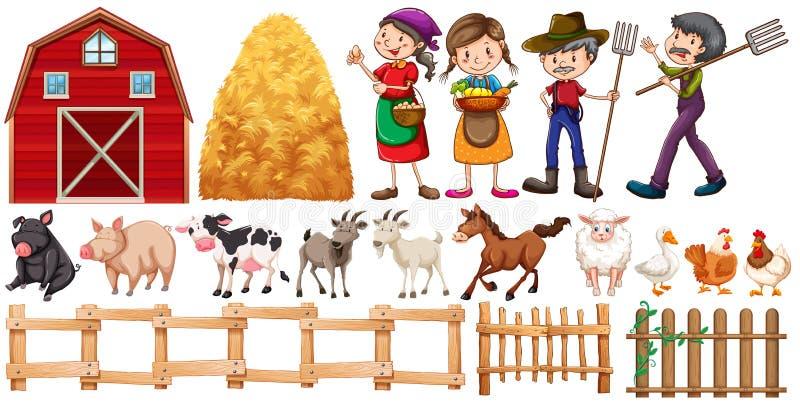 Bönder och lantgårddjur royaltyfri illustrationer