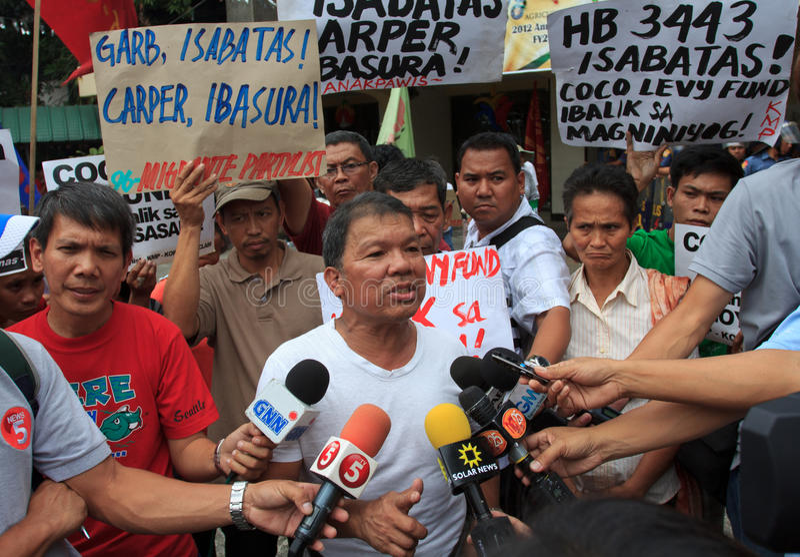 Bönder protesterar i Manila, Philippines arkivbilder