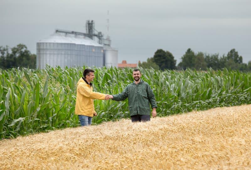 Bönder som skakar händer i fält royaltyfri foto