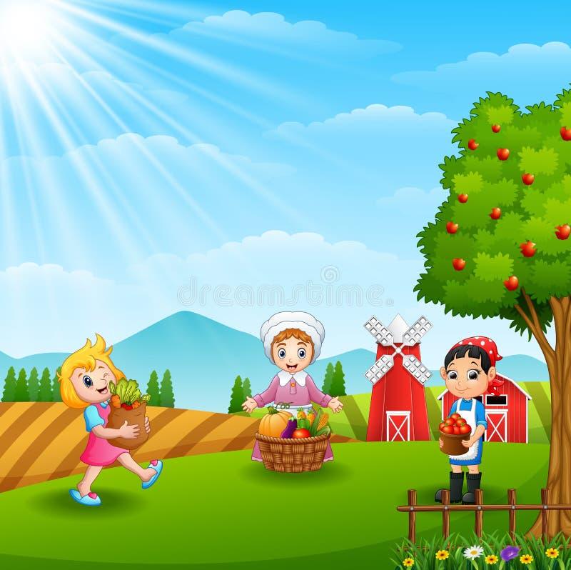 Bönderna som samlas i lantgård vektor illustrationer