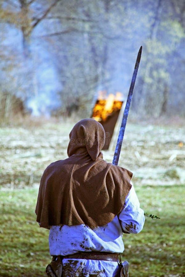 Bönders revolt a D 1573 , krigare, reenactment av den sista striden, 19, Stubica, Kroatien, 2016 arkivbilder