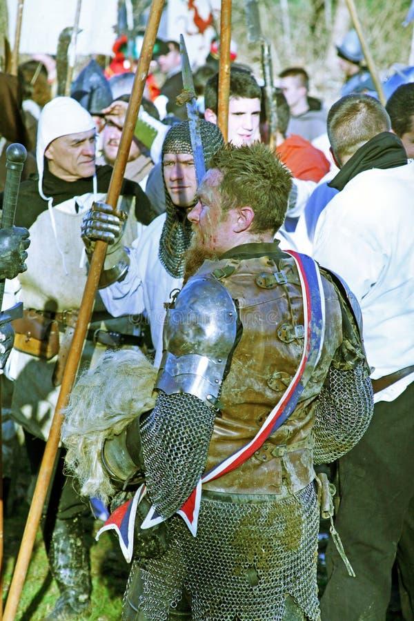 Bönders revolt a D 1573 , krigare, reenactment av den sista striden, 26, Stubica, Kroatien, 2016 royaltyfria foton