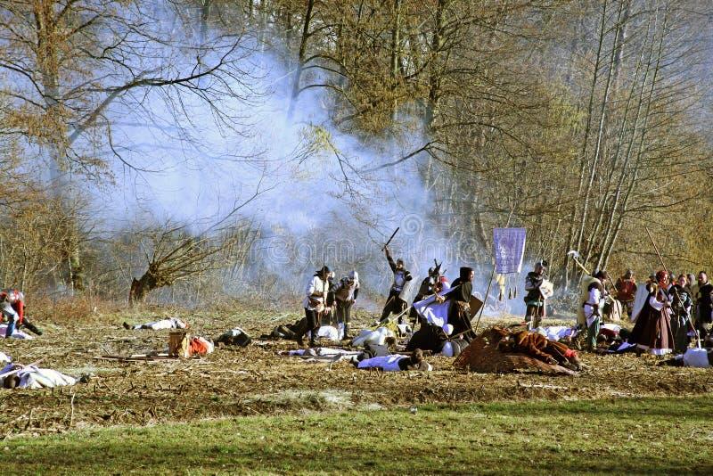 Bönders revolt a D 1573 , reenactment av den sista striden, ansträngning, 24, Stubica, Kroatien, 2016 royaltyfria foton