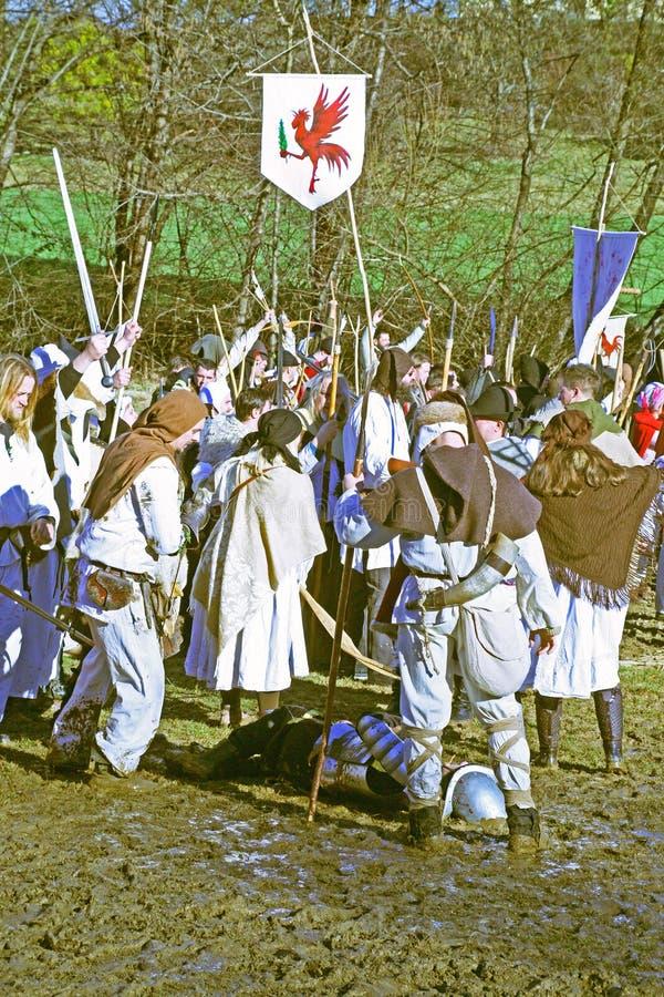 Bönders revolt a D 1573 , reenactment av den sista striden, 7, Donja Stubica, Kroatien, 2016 arkivfoton