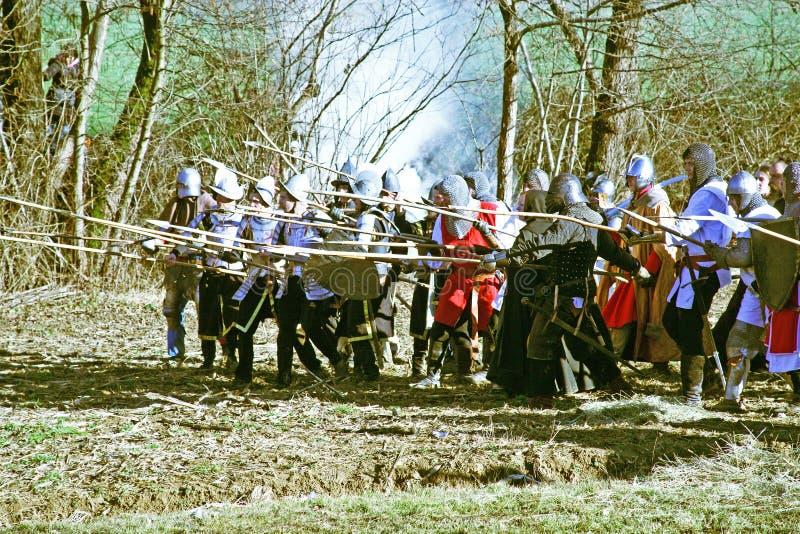 Bönders revolt a D 1573 , reenactment av den sista striden, 9, Donja Stubica, Kroatien, 2016 royaltyfri bild