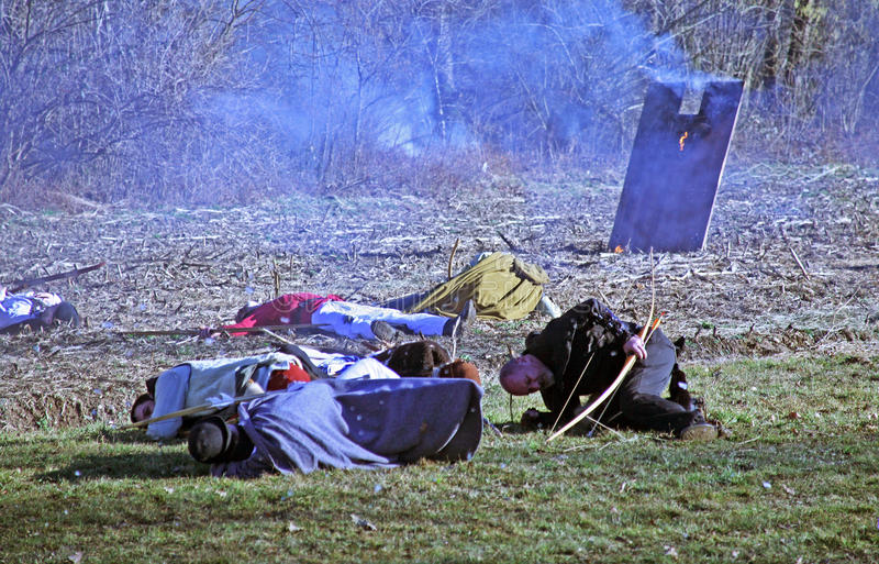Bönders revolt a D 1573 , reenactment av den sista striden, 20, Stubica, Kroatien, 2016 royaltyfri foto