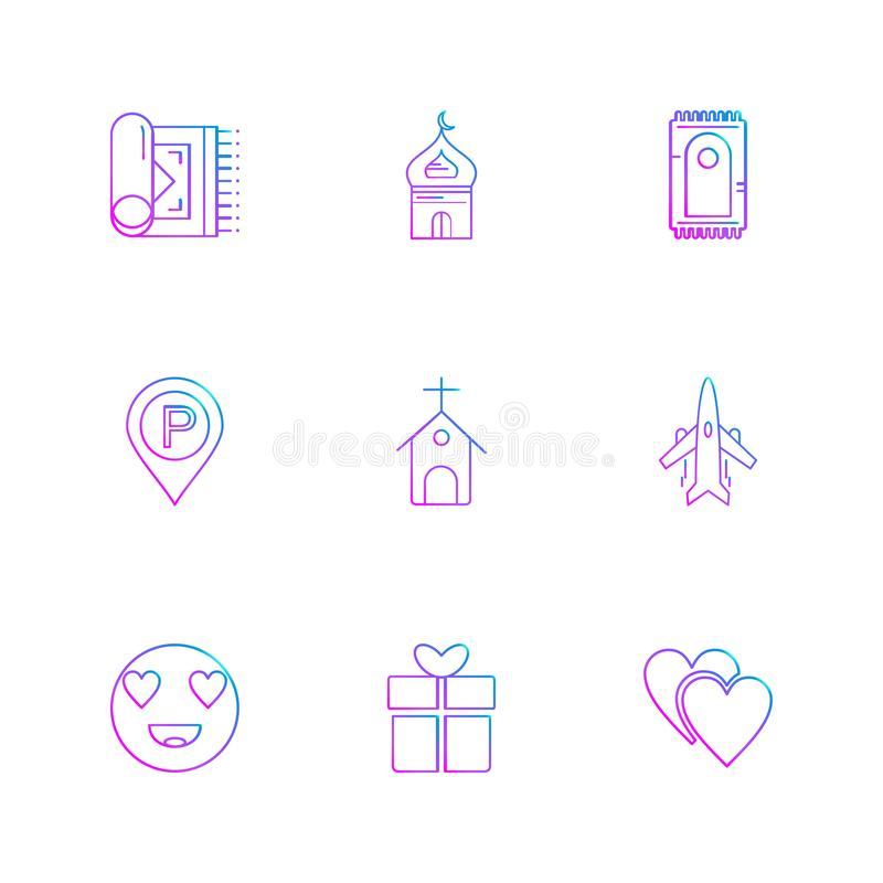 bönematta moské, muslim, kyrka, navigering, emoji, gi royaltyfri illustrationer