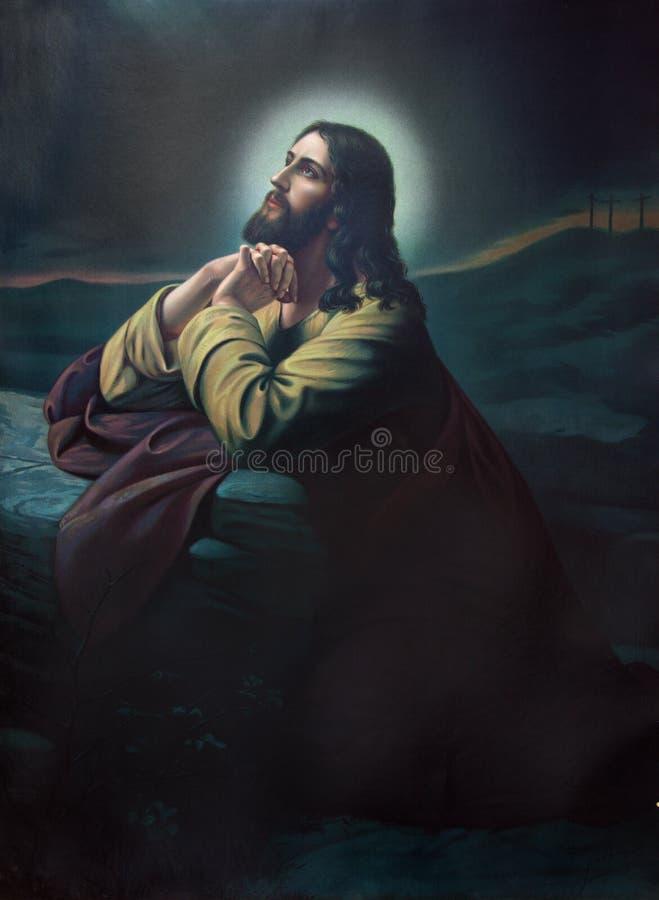 Bönen av Jesus i den Gethsemane trädgården Typisk cahtolic utskrivaven bild från slutet av 19 cent arkivfoto