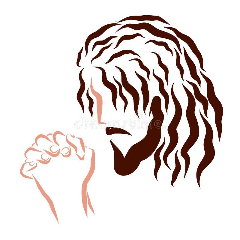 Bönen av Lord Jesus, huvudet och händerna royaltyfri foto