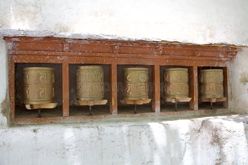 Bönhjul på den Alchi kloster, Ladakh, Indien arkivbilder