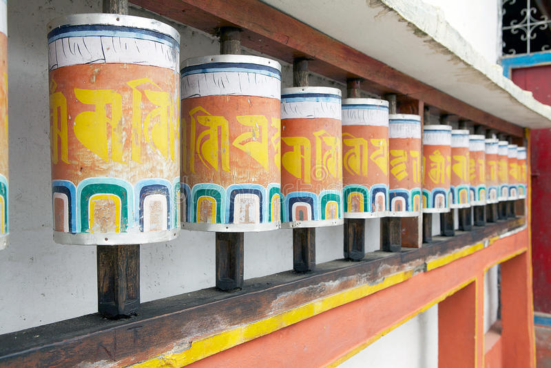 Bönhjul på den Phodong kloster, Gangtok, Sikkim, Indien royaltyfria bilder