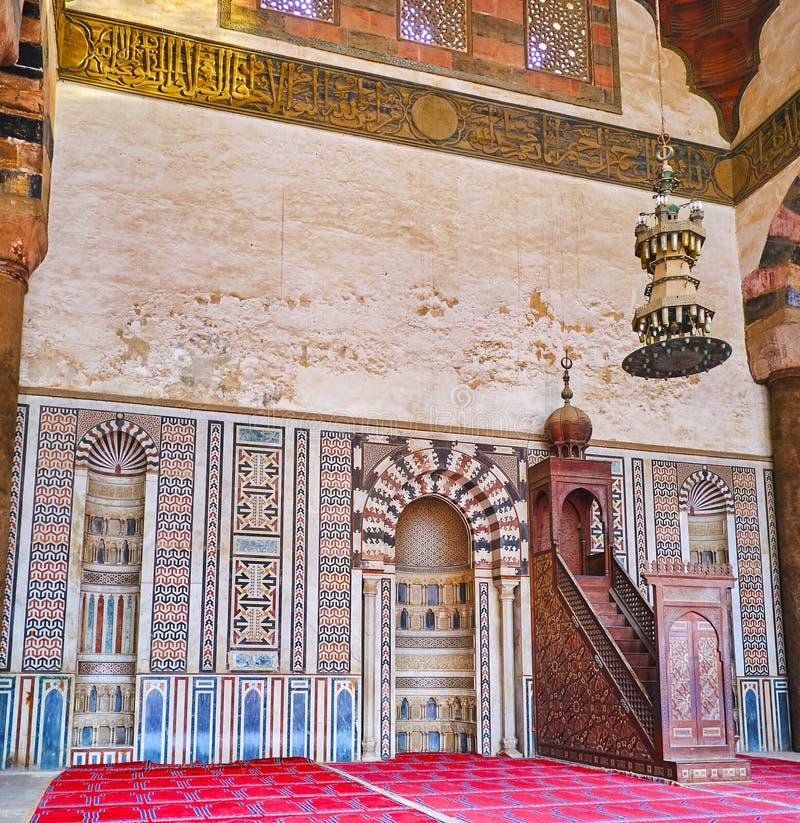 Bönkorridor av Al-Nasir Muhammad Mosque, Kairocitadell, Egypten royaltyfria foton