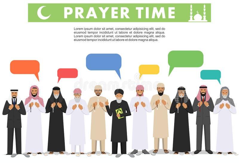 Böntid Bubbla för folk, för mullah och för anförande för muslim för olikt anseende be arabisk i traditionell arabisk kläder stock illustrationer