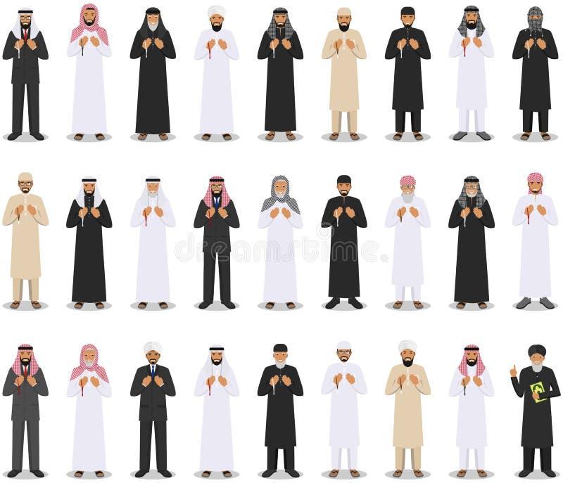 Böntid För muslimarabiska för olikt anseende be folk stock illustrationer