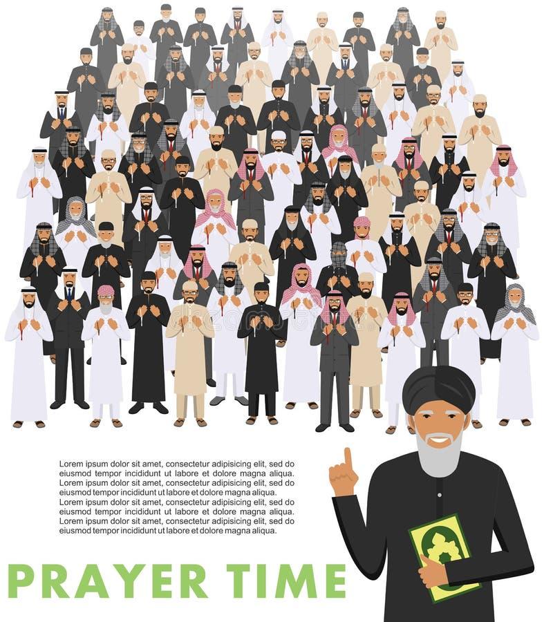 Böntid Folk och mullah för muslim för olikt anseende be arabisk i traditionell arabisk kläder Mufti med quran royaltyfri illustrationer