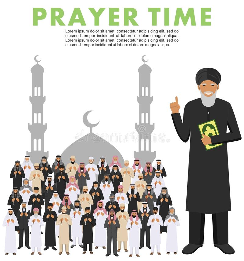 Böntid Folk och mullah för muslim för olikt anseende be arabisk i traditionell arabisk kläder Mufti med quran islamiskt stock illustrationer