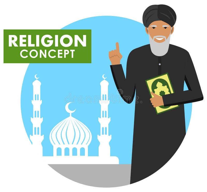 Böntid religion för bokbegreppskors Mufti med qurananseende på bakgrundskonturn av moskén och minaret Mulla med Koranen mu stock illustrationer
