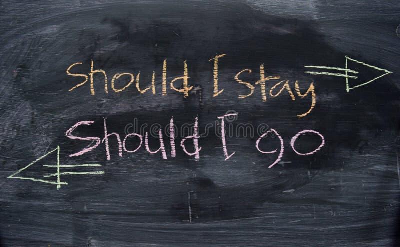 Bör jag blir eller, bör jag gå skriftlig med färgkritabegrepp på svart tavla arkivfoton