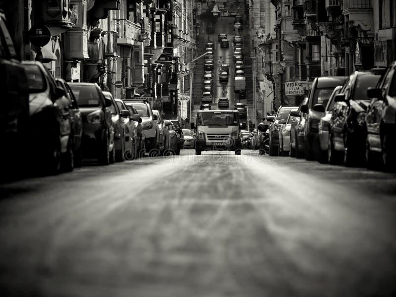 Början gillar gataplats i Valletta royaltyfri fotografi