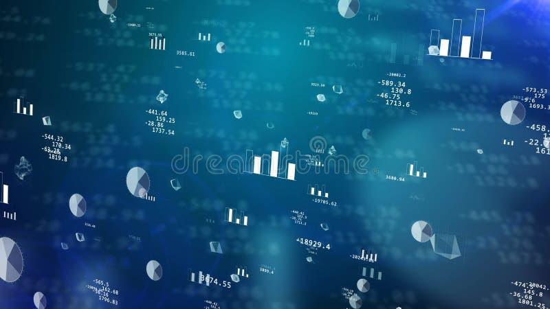Börsdiagram med att blänka grafer royaltyfri illustrationer