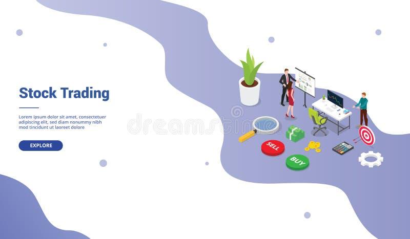 Börse-Handelskonzept des Händlers mit Geschäftsmann-Teamleuten für Websiteschablone oder Landungshomepage mit modernem isometrisc stock abbildung