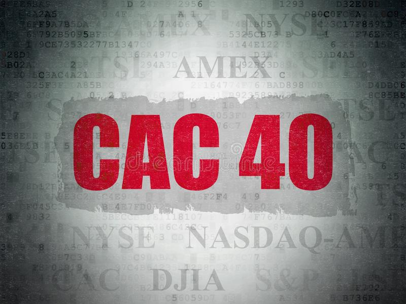 Börse indexiert Konzept: CAC 40 auf Digital-Daten tapezieren Hintergrund vektor abbildung