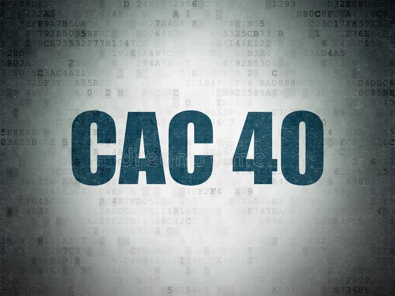 Börse indexiert Konzept: CAC 40 auf Digital-Daten tapezieren Hintergrund stock abbildung