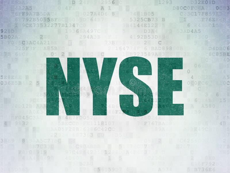 Börse indexiert Konzept: NYSE auf Digital-Daten tapezieren Hintergrund stock abbildung
