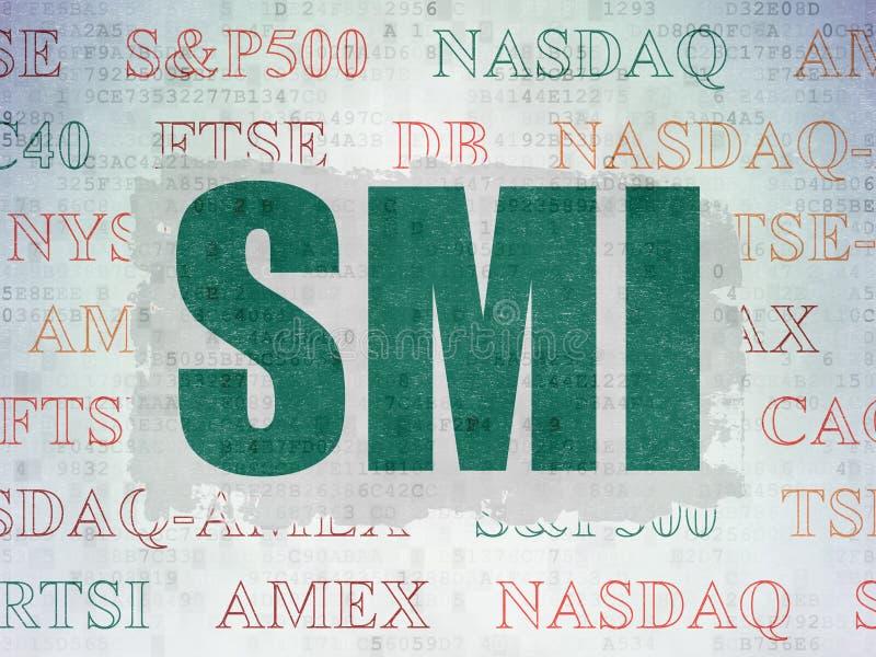 Börse indexiert Konzept: SMI auf Digital-Daten tapezieren Hintergrund lizenzfreie abbildung