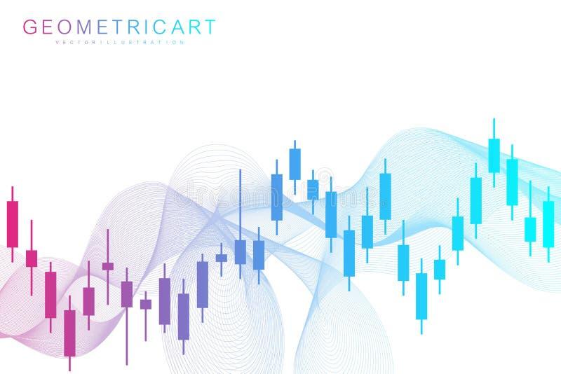 Börse oder Devisenhandelsdiagramm Diagramm im Finanzmarktvektorillustration Zusammenfassungs-Finanzhintergrund vektor abbildung