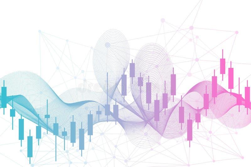 Börse oder Devisenhandelsdiagramm Diagramm im Finanzmarktvektorillustration Zusammenfassungs-Finanzhintergrund stock abbildung