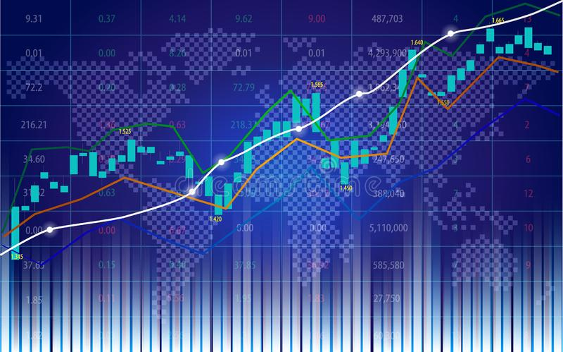 Börse oder Devisenhandelsdiagramm mit Indikator auf Weltkarte stock abbildung