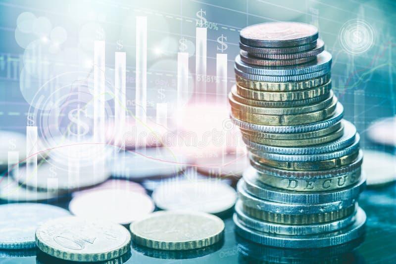 Börse oder Devisenhandelsdiagramm und -kerzenständer entwerfen passendes für Finanzinvestitionskonzept stockfoto