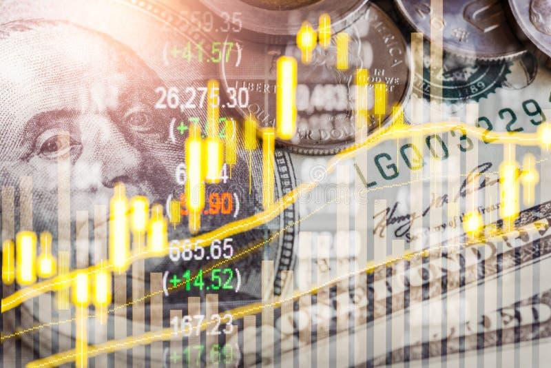Börse oder Devisenhandelsdiagramm und -kerzenständer entwerfen passendes für Finanzinvestitionskonzept Wirtschaft neigt Hintergru stockfotografie