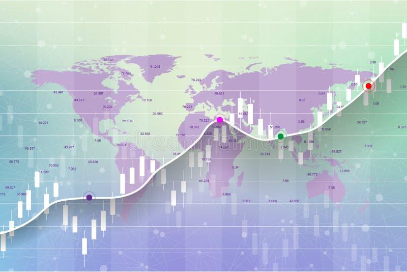 Börse und Austausch Kerzenhalterdiagrammdiagramm der Börse-Investition, die auf Weltkartehintergrunddesign handelt vektor abbildung