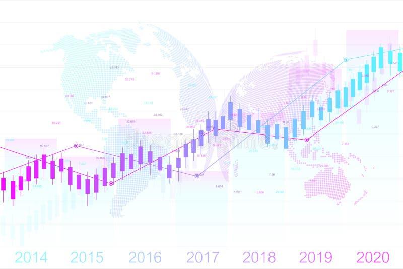 Börse und Austausch Kerzenhalterdiagrammdiagramm des Börse-Investitionshandels Börse-Daten Von steigender Tendenz Punkt stock abbildung
