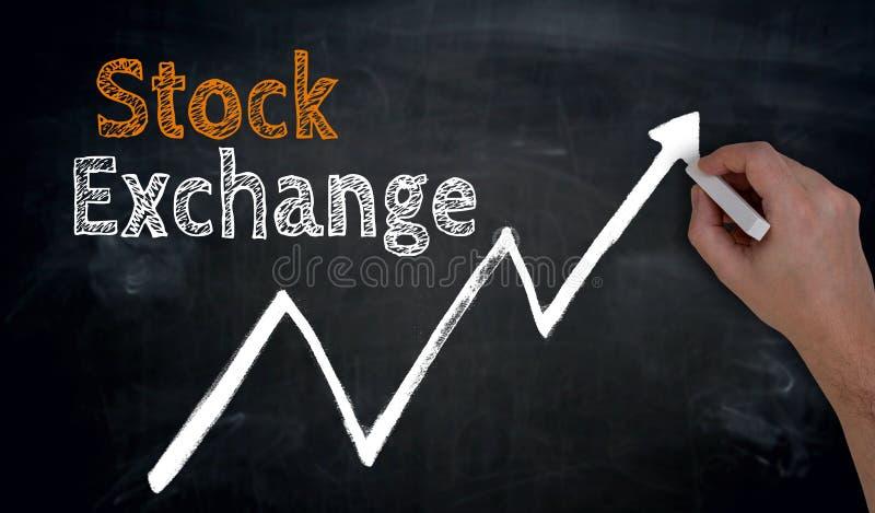 Börse wird eigenhändig auf Tafel geschrieben lizenzfreies stockfoto