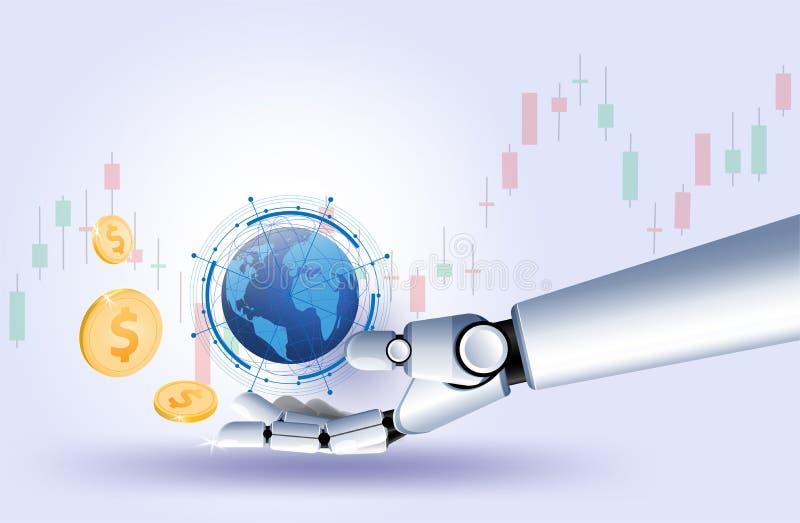 Börsedevisenhandelsdiagramm Vektors des GolduS-Dollar Münzenhandroboters futuristische intelligente Investitionstechnologie Kontr lizenzfreie abbildung