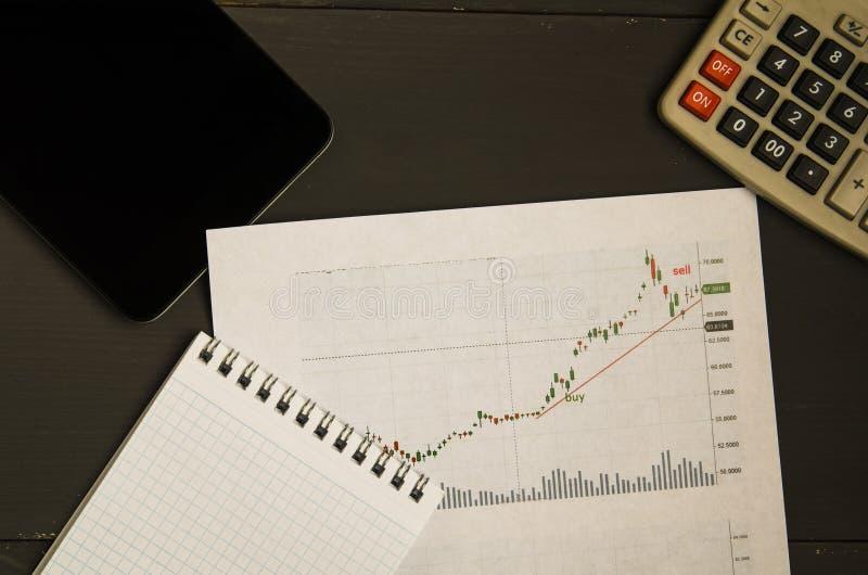 Börsenkurse und Diagramme auf Papier lizenzfreies stockfoto