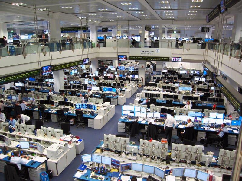 Börsenparkett von Deutsche Bank in Frankfurt, Deutschland stockbild